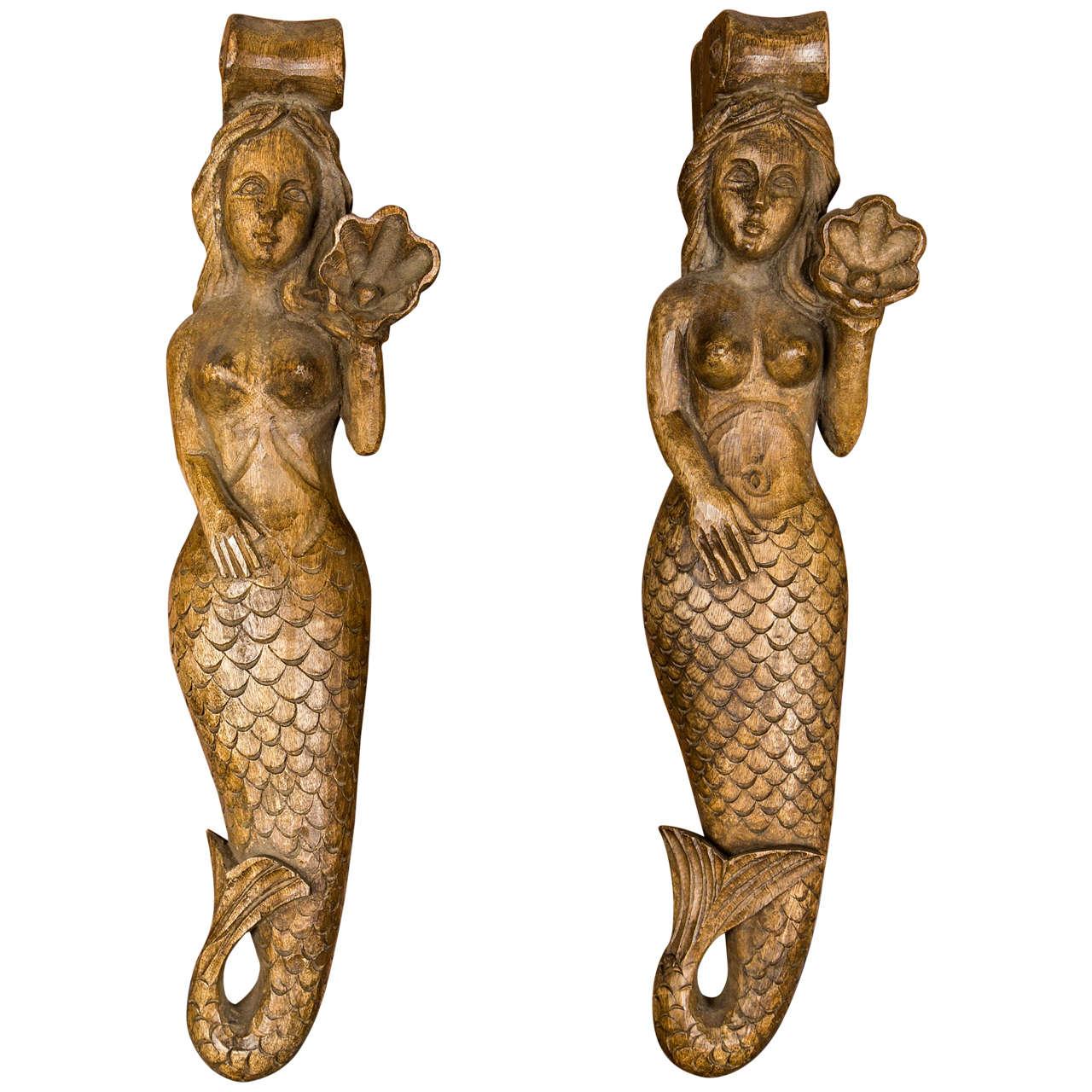 Circa 1900 Pair Of Carved Wood Mermaid Sconces At 1stdibs