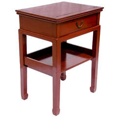 Turn of the Century Q'ing Dynasty Red Lacquered Side Table with Lower Shelf
