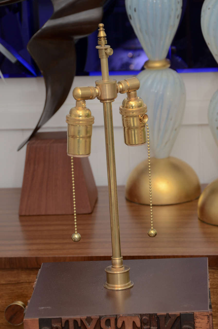 pair of resin and wood block printers lamps at 1stdibs. Black Bedroom Furniture Sets. Home Design Ideas