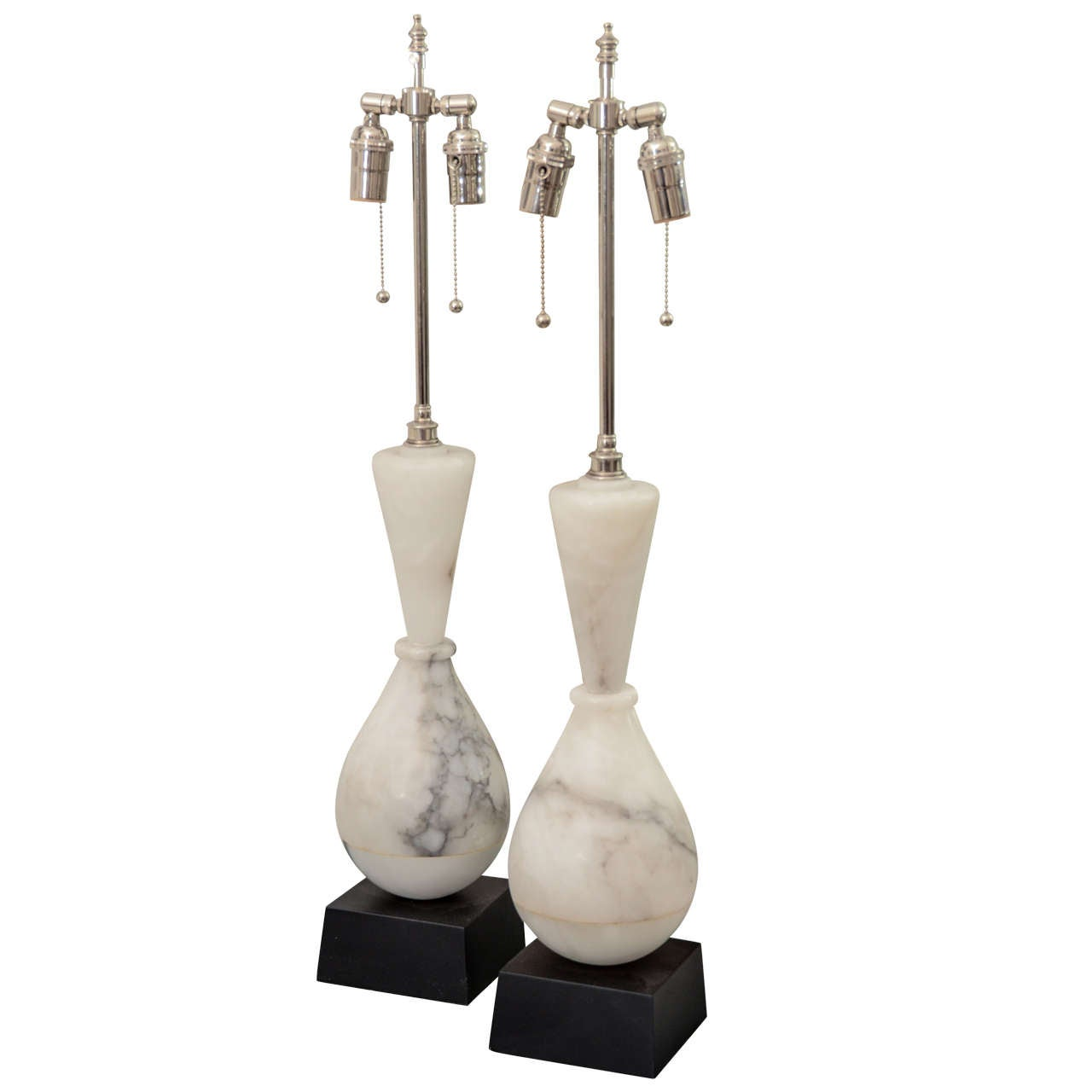 Pair of Vase Form Alabaster Table Lamps