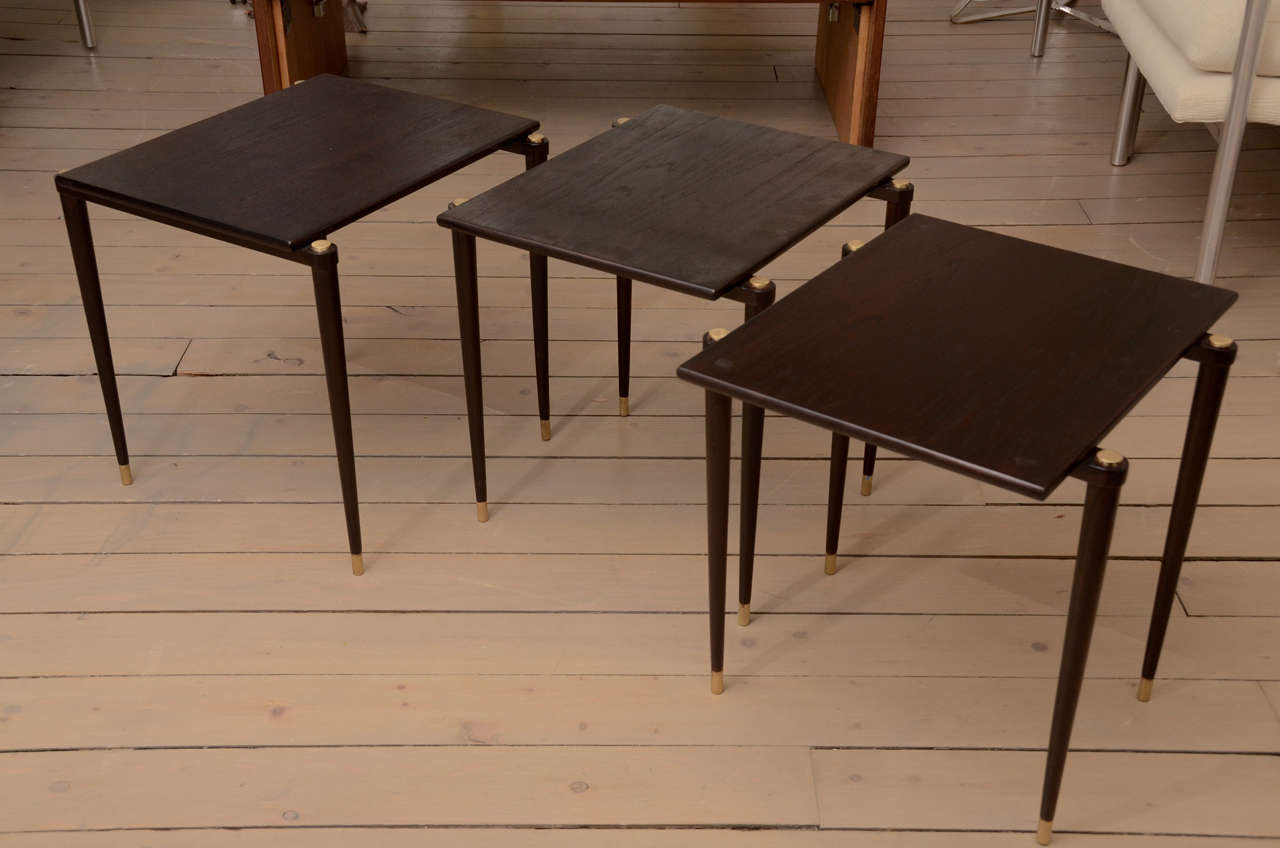 Set Of Three Wood Nesting Tables For Sale At 1stdibs. Full resolution‎  image, nominally Width 1280 Height 848 pixels, image with #8D643E.