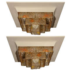 Framed Flush Mount Fixture with TIered Amber Glass Shade by Mazzega