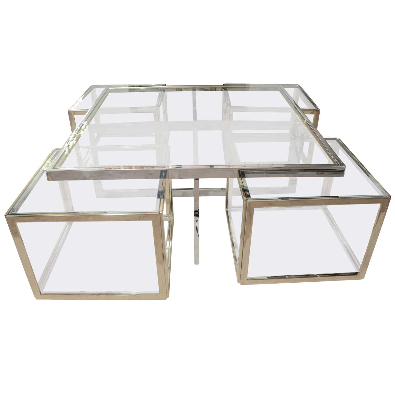1970 39 S Jean Charles Coffee Table With Four Cubes At 1stdibs