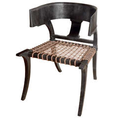 Klismos Lower Back Chair in Black Lizard