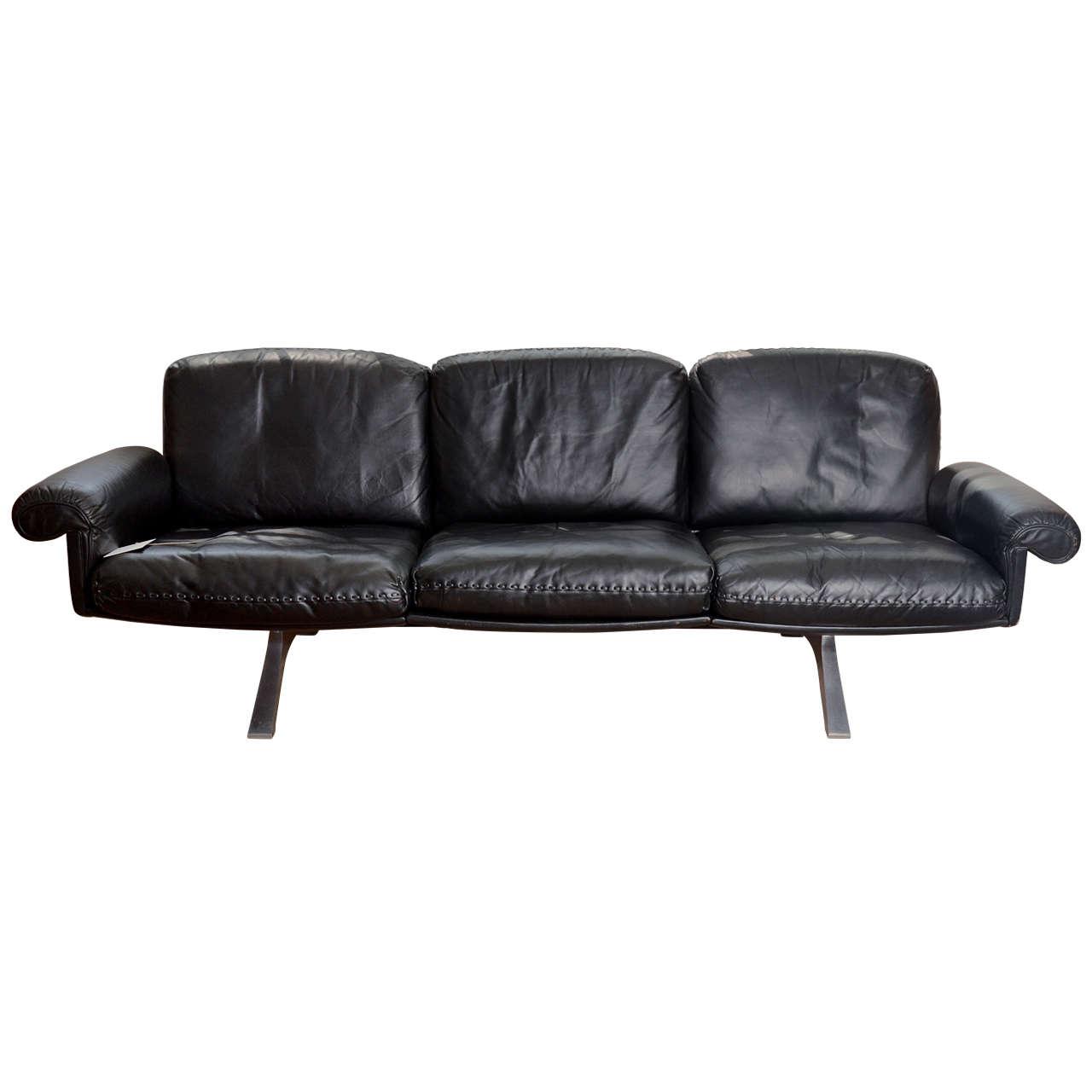 1970\'s De Sede Black Leather Sofa on Chrome Legs