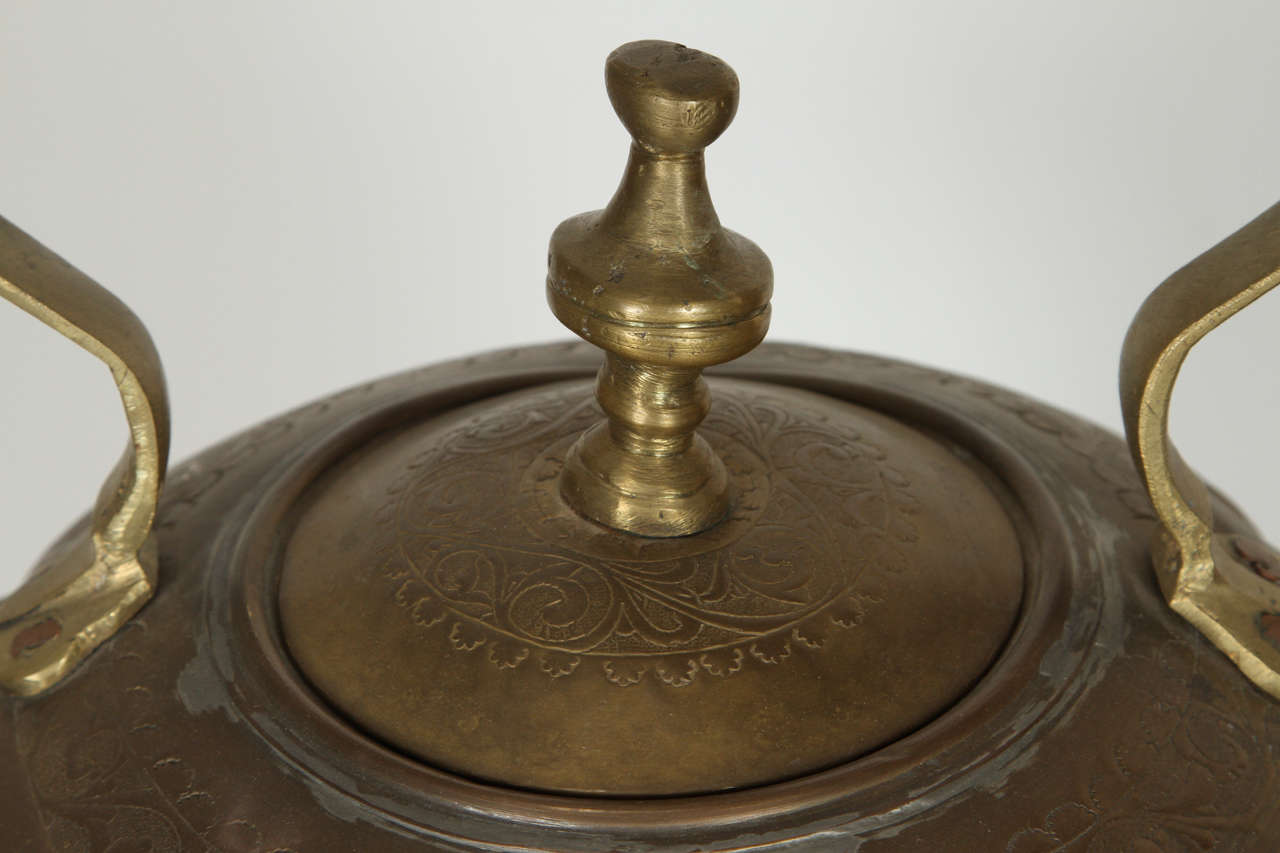 Middle Eastern Turkish Antique Brass Tea Kettle Pot on Stand 8