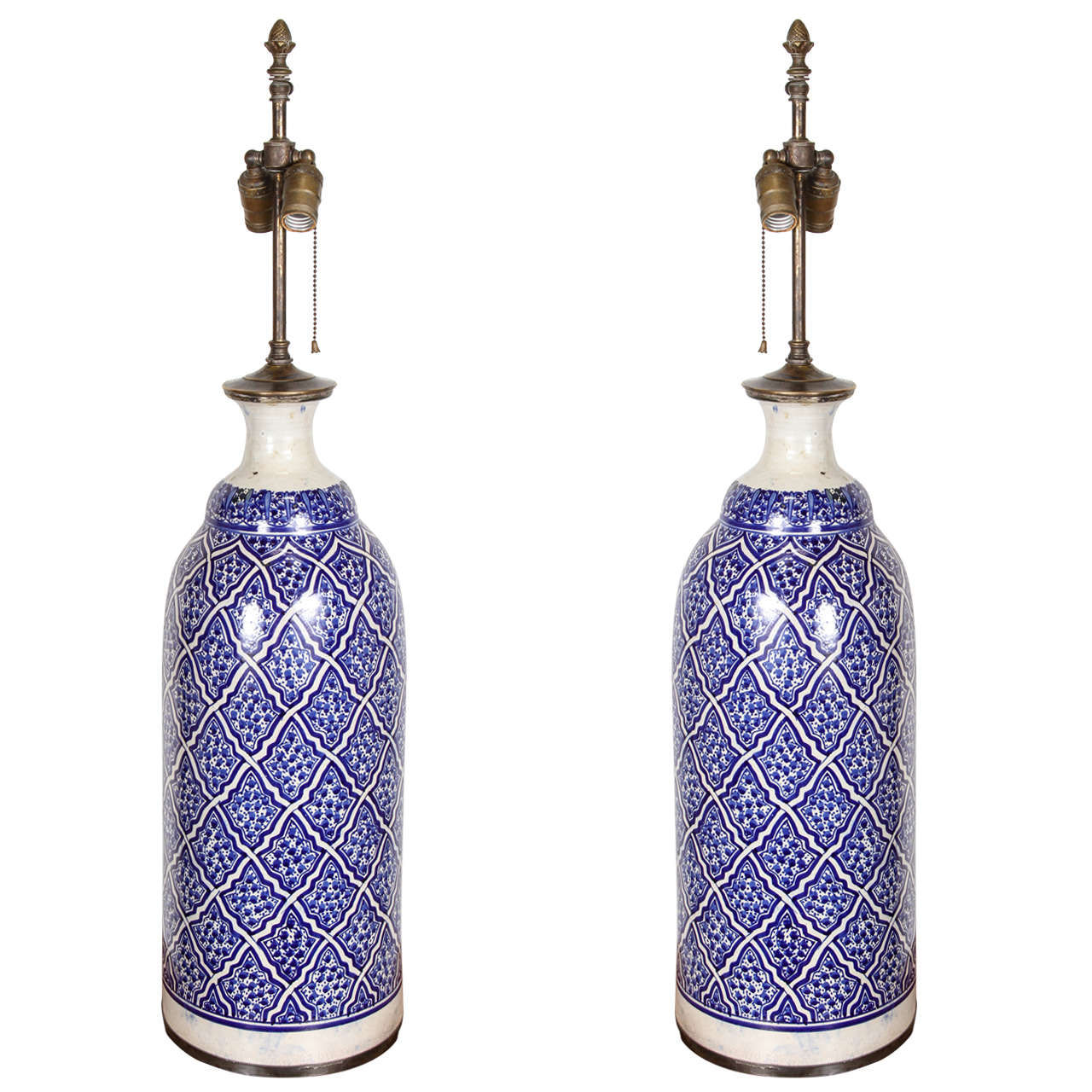 moroccan ceramic table lamps from fez at 1stdibs. Black Bedroom Furniture Sets. Home Design Ideas