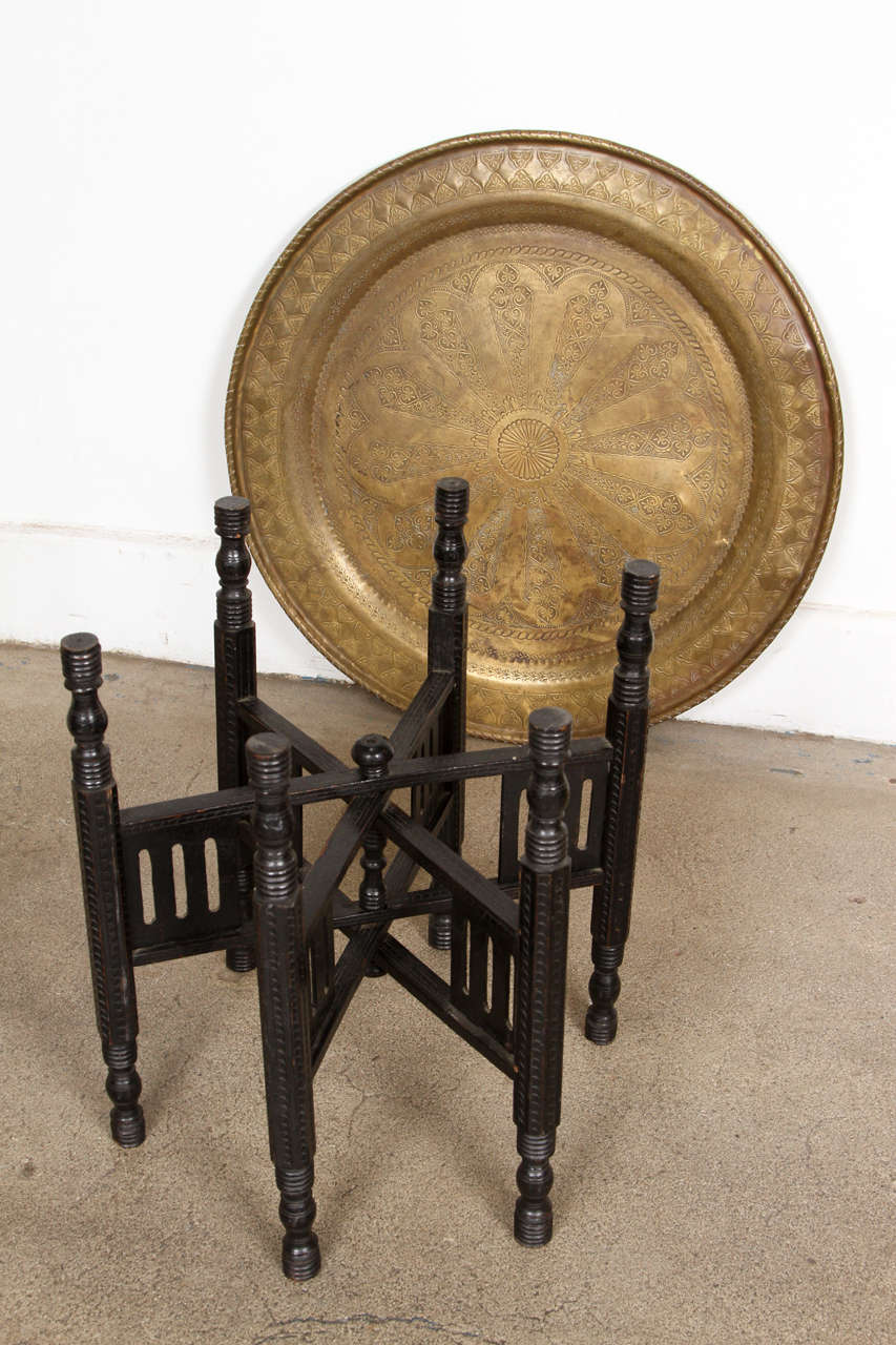 Middle Eastern Persian Brass Tray Table With Folding