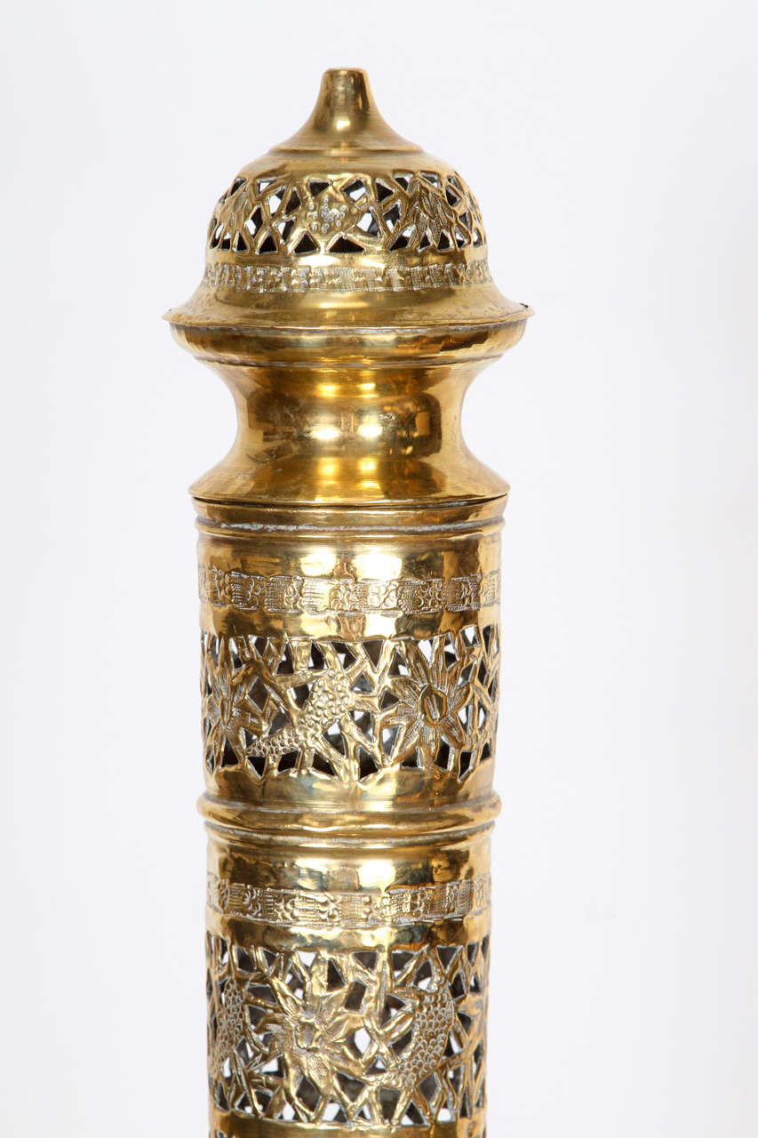 Elegant Tall Moroccan Polished Brass Incense Burner At 1stdibs