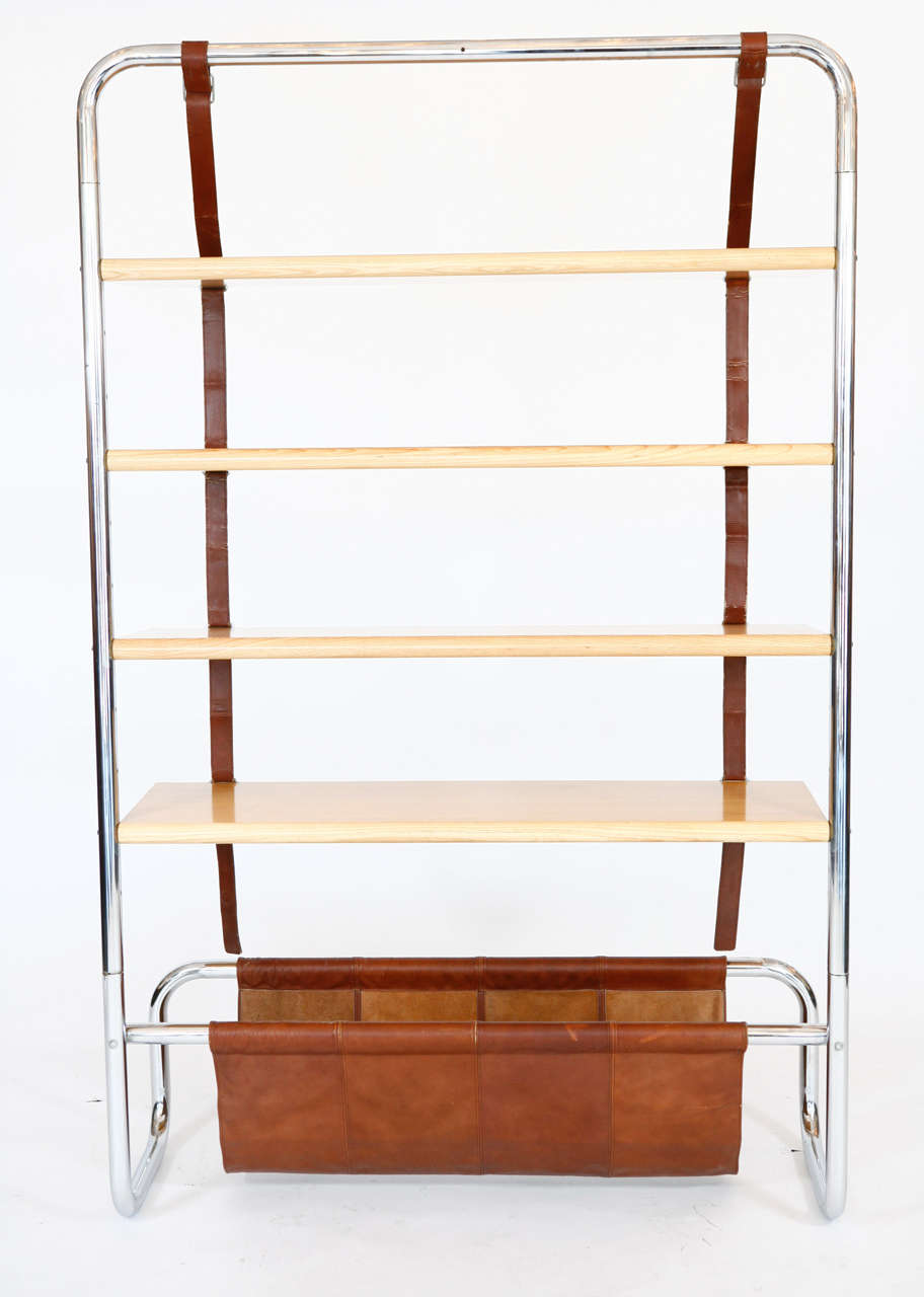 Large Leather and Oak Wall Shelf by Luigi Massoni 2
