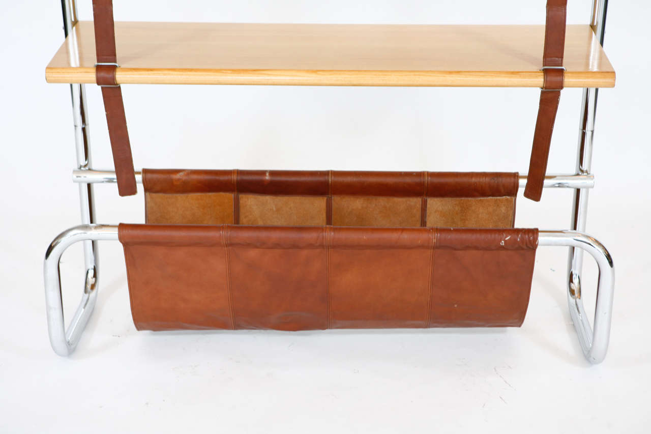 Large Leather and Oak Wall Shelf by Luigi Massoni 3