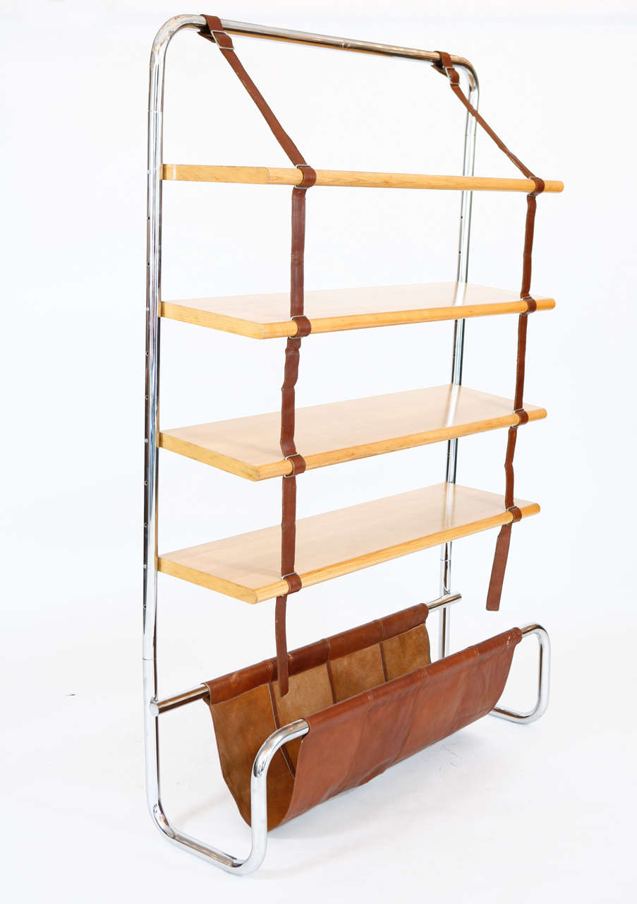 Large Leather and Oak Wall Shelf by Luigi Massoni 7