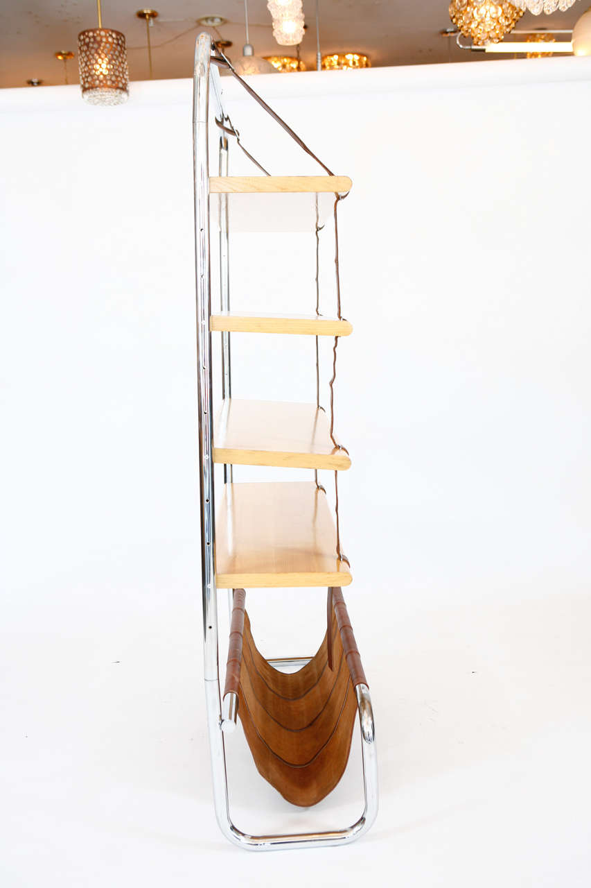 Large Leather and Oak Wall Shelf by Luigi Massoni 8