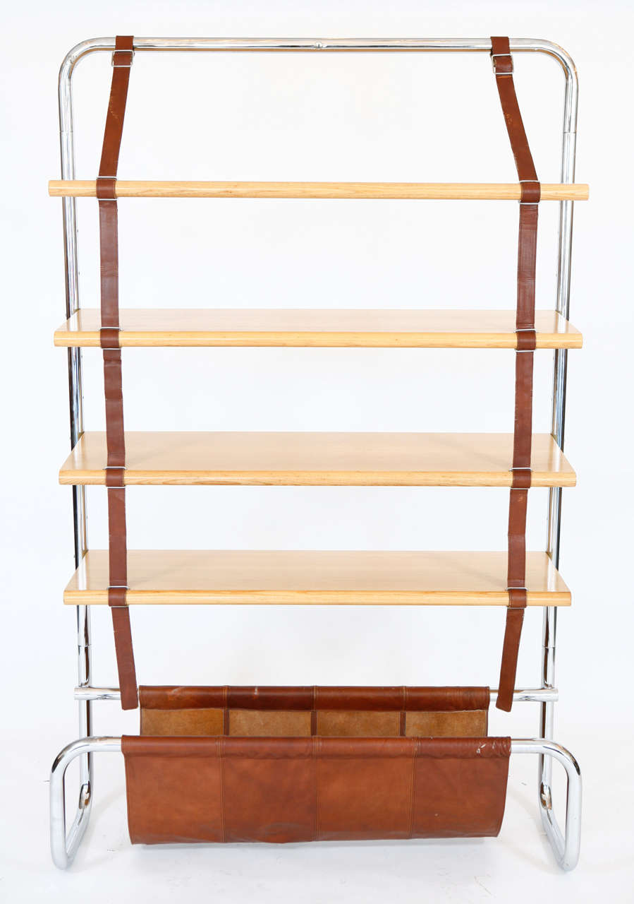 Large Leather and Oak Wall Shelf by Luigi Massoni 10
