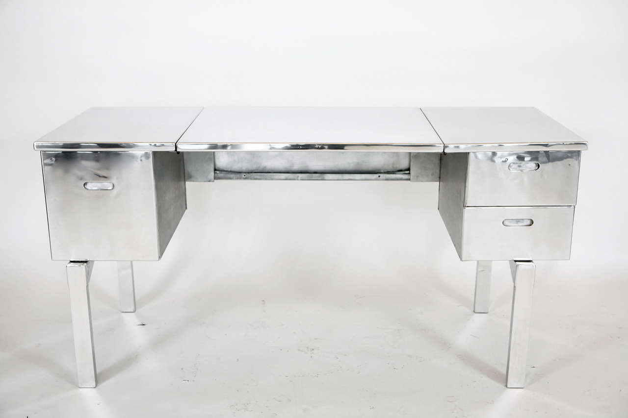 Aluminum Campaign Desk That Was Originally Used By The Us Military Professionally Stripped And Polished
