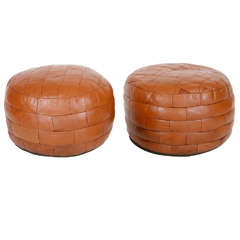 French Leather Ottoman Poufs