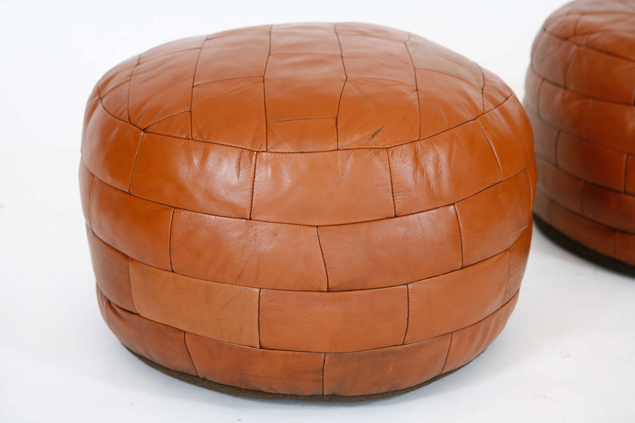 French Leather Ottoman Poufs At 1stdibs