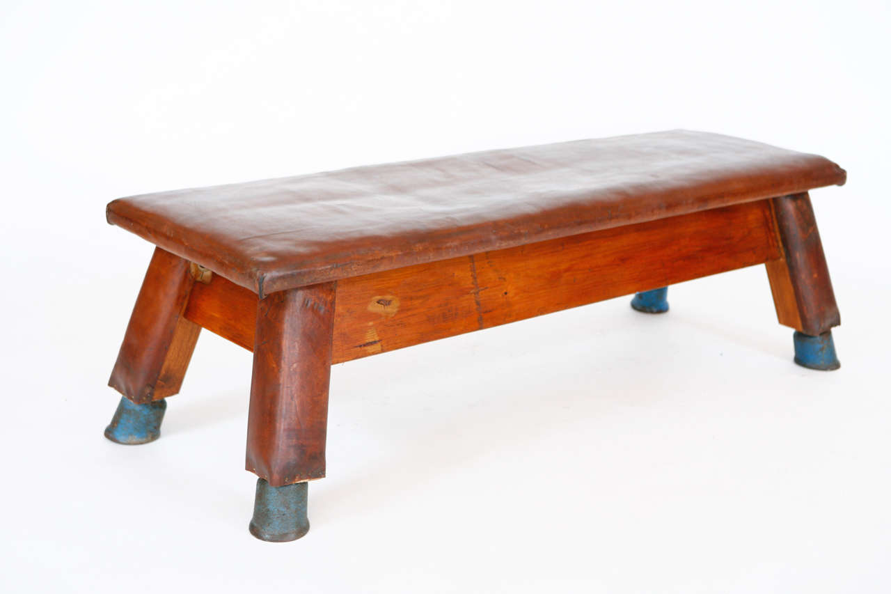 French Leather And Wood Gym Bench At 1stdibs