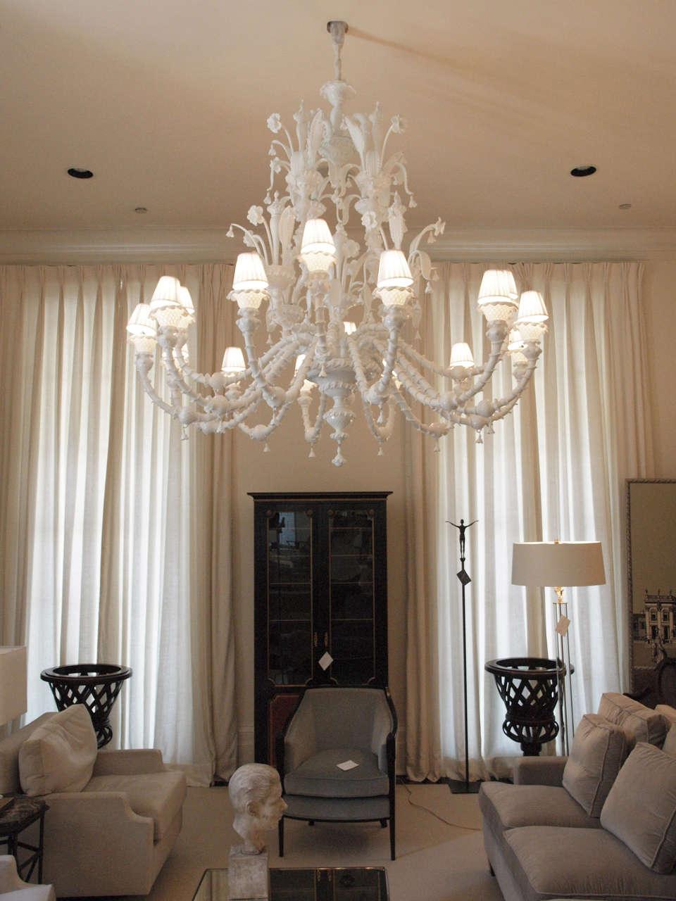 Saturday sale enormous milk glass murano 16 light chandelier at 1stdibs arubaitofo Choice Image