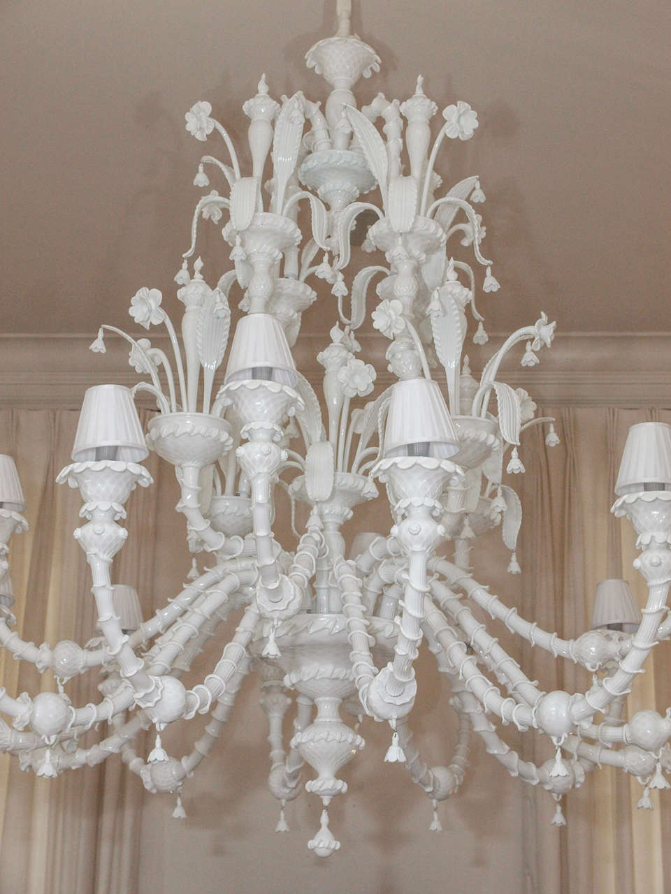 Enormous Milk Glass Murano 16 Light Chandelier at 1stdibs