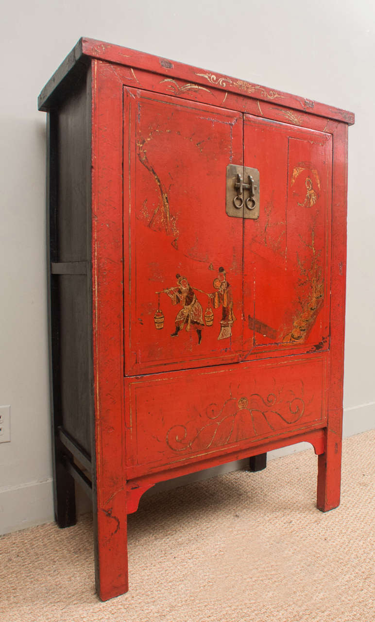 Red Lacquer Kitchen Cabinets Chinese Red Lacquer Cabinet With Gilt Painting 19th Century For