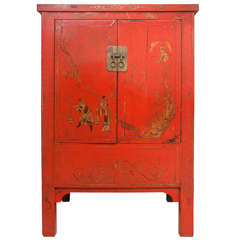 Chinese Red Lacquer Cabinet with Gilt Painting, 19th Century