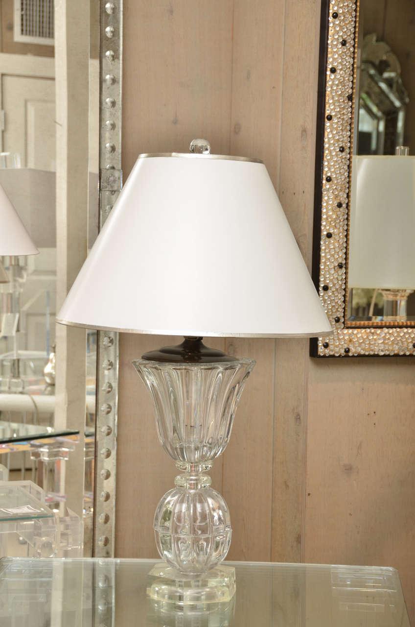 Pair of Crystal Art Deco Lamps 2