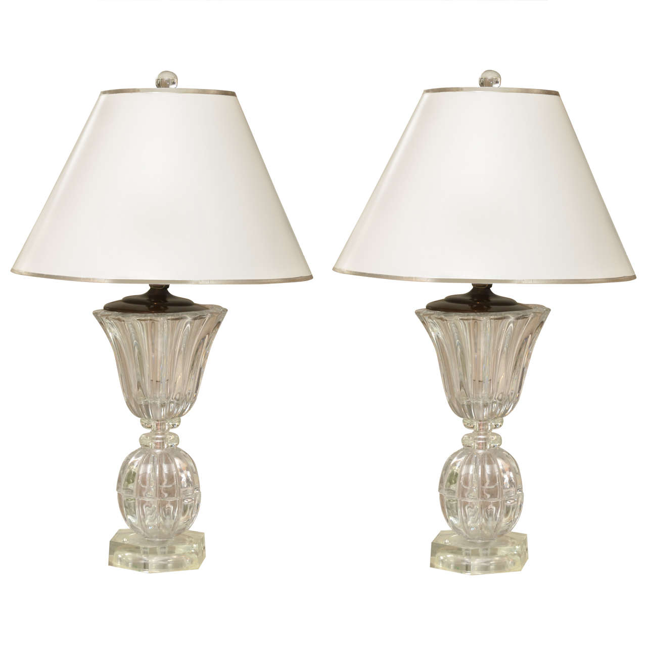 Pair of Crystal Art Deco Lamps 1