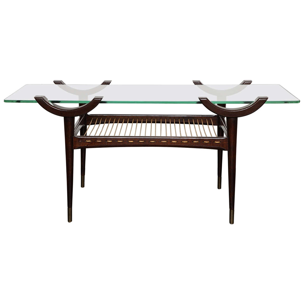 Mid 20th Century Stained Beechwood Two Tier Cocktail Table Glass Top At 1stdibs