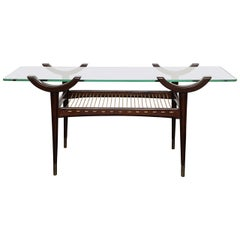 Mid-20th Century Stained Beechwood Two-Tier Cocktail Table, Glass Top