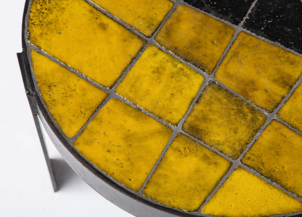 Patinated Unusual Ceramic Tile Top Table For Sale