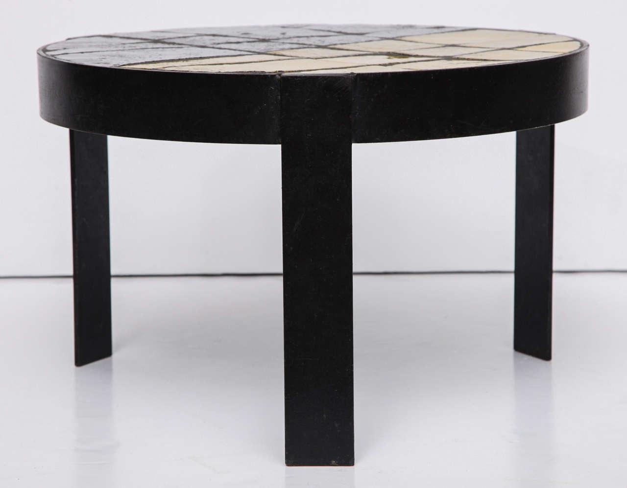 Steel Unusual Ceramic Tile Top Table For Sale