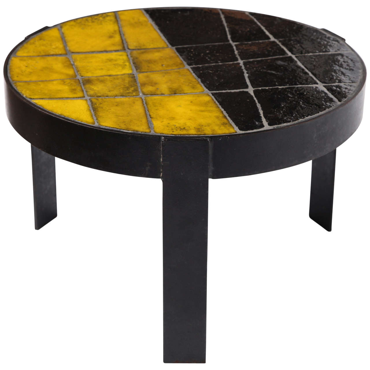 Unusual Ceramic Tile Top Table For Sale