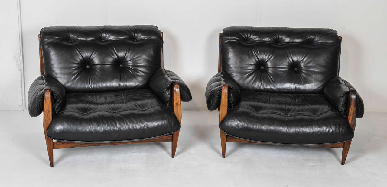 Enjoyable Pair Of Jean Gillon Brazilian Lounge Chairs For Italma Wood Ibusinesslaw Wood Chair Design Ideas Ibusinesslaworg