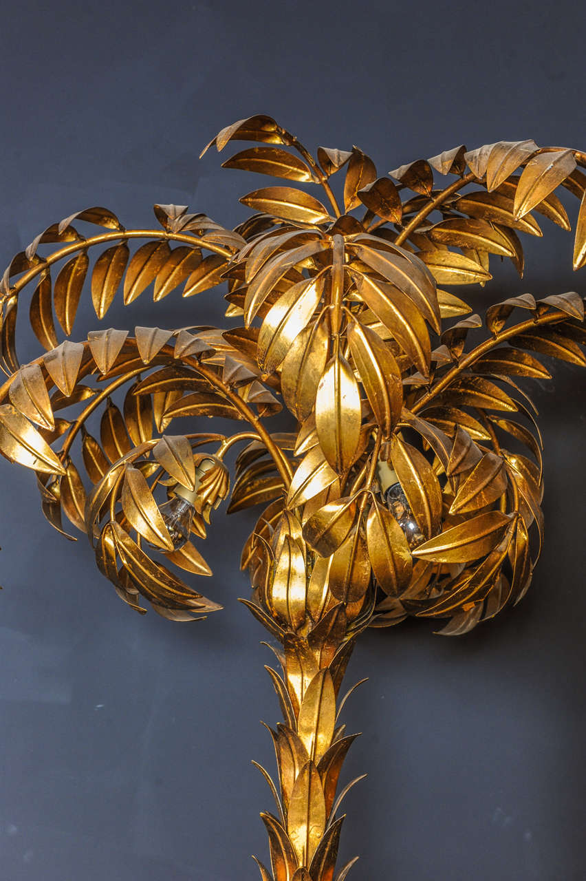 Hans Kogl Huge Tall Two Trunk Gilded Palm Tree Light For