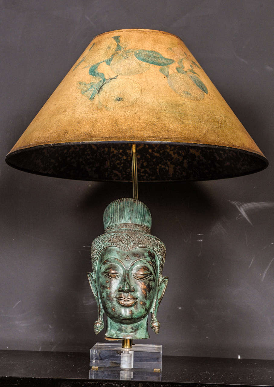 Perfect Eclectic Hollywood Regency Style Table Lamp With Thai Buddha Head In Bronze  2