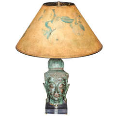 Eclectic Hollywood Regency Style Table Lamp with Thai Buddha Head in Bronze