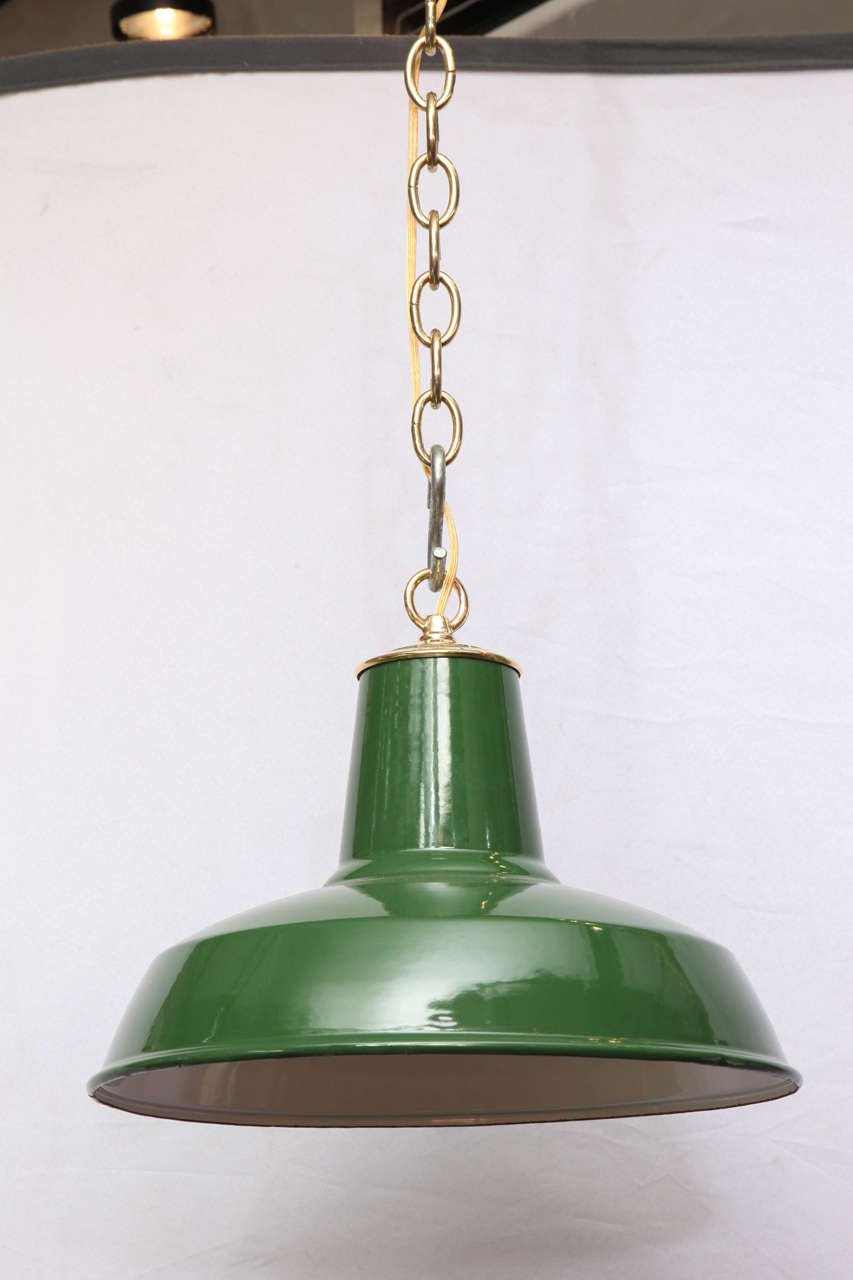 Green Enamel Wall Lights : Hunter Green Enamel Pendant Lights For Sale at 1stdibs