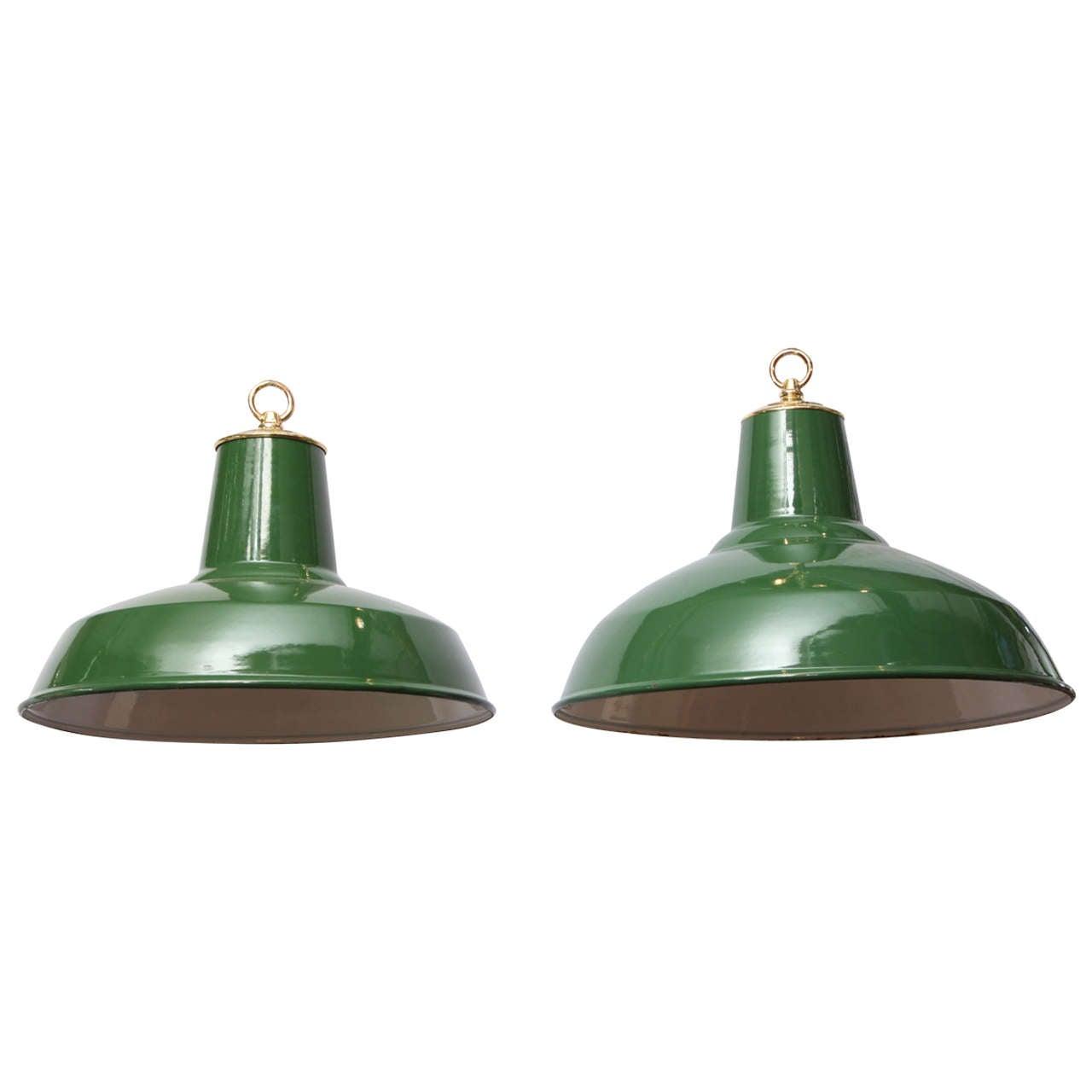 Hunter green enamel pendant lights for sale at 1stdibs hunter green enamel pendant lights for sale aloadofball Choice Image