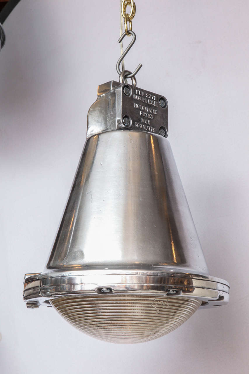 Handpicked by buyers at Ann-Morris, Inc.  Perhaps the last Holophane conical lights of this style available on the market.