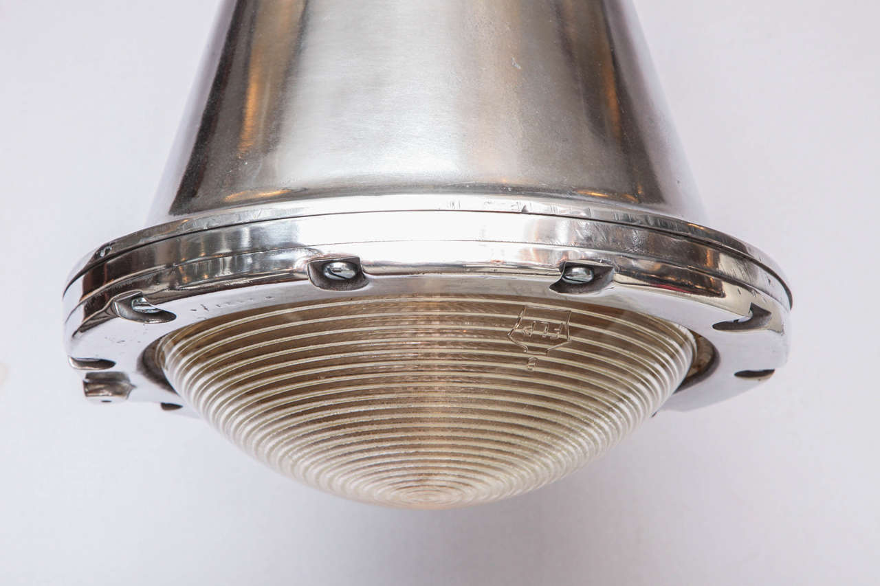 English Polished Conical Industrial Lights For Sale