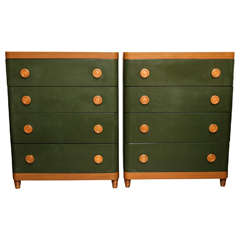 Pair of Oak and Green Lacquered Chests in the Style of Gilbert Rohde, circa 1940