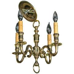 Heavy Brass Four-Arm Chandelier