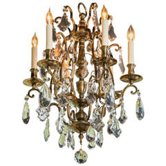 French Bronze and Crystal Six-Arm Chandelier, circa 1940s