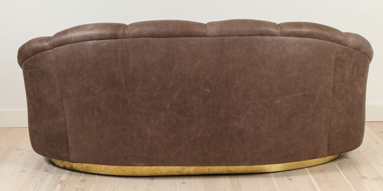 Italian Leather And Brass Loveseat At 1stdibs