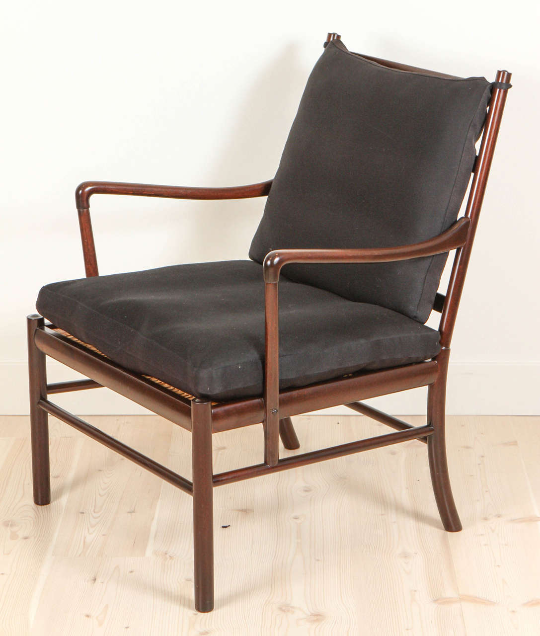 Rare pair of rosewood colonial chairs by ole wanscher for P jeppesen furniture