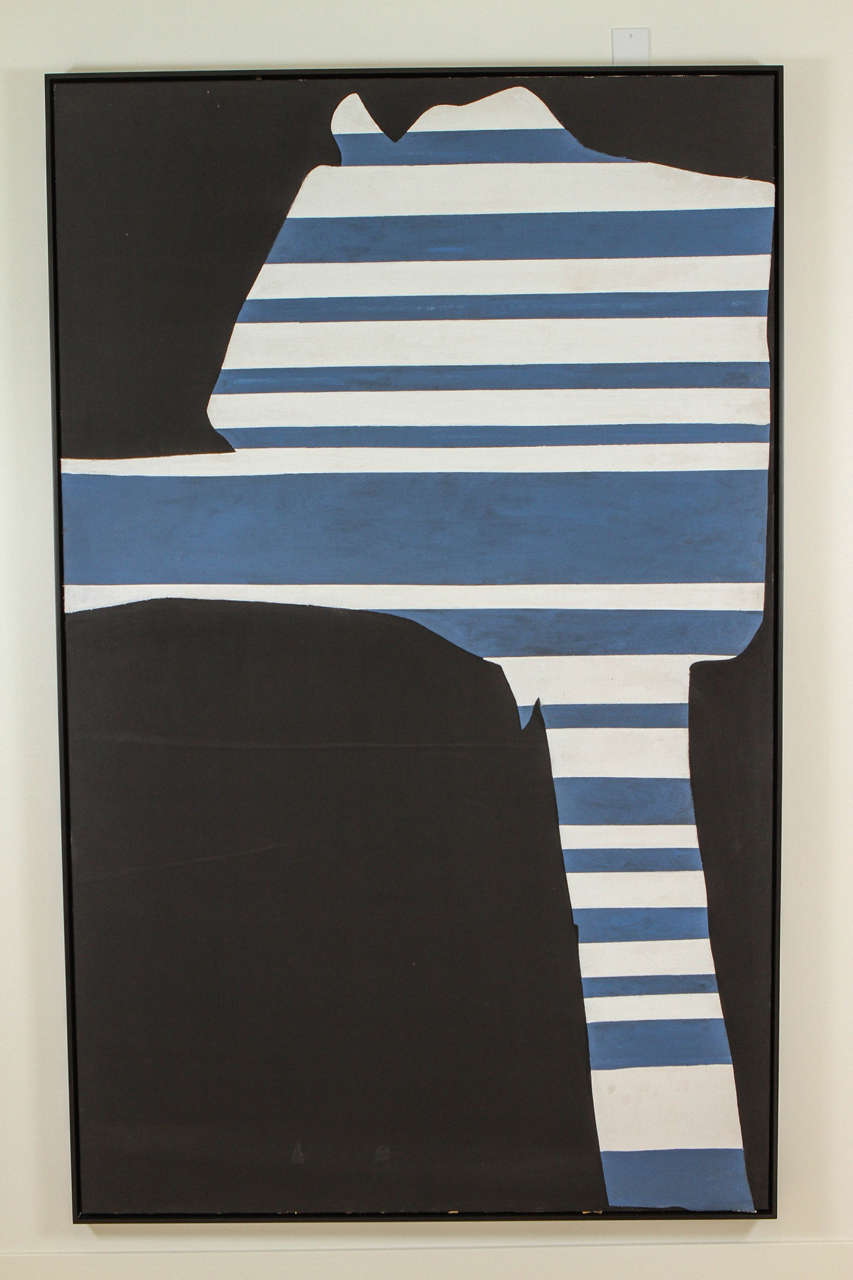 """Stripes on Black"" by Adja Yunkers. Acrylic and collage on canvas. Signed and dated verso 1969. From the collection of Adja Yunkers. Donated to the Allende Govt in Chile / Mario Pedroza,  writer and art critic. Completely restored and"