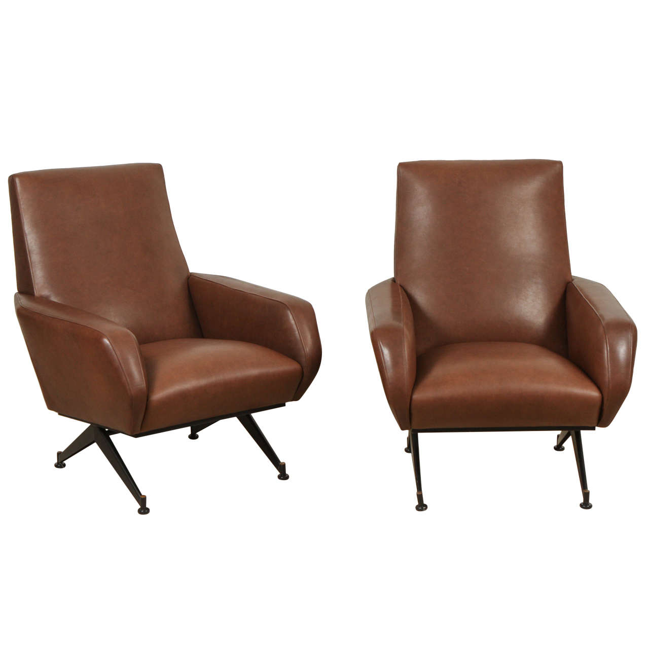Pair of Italian Leather Chairs in the Style of Arflex