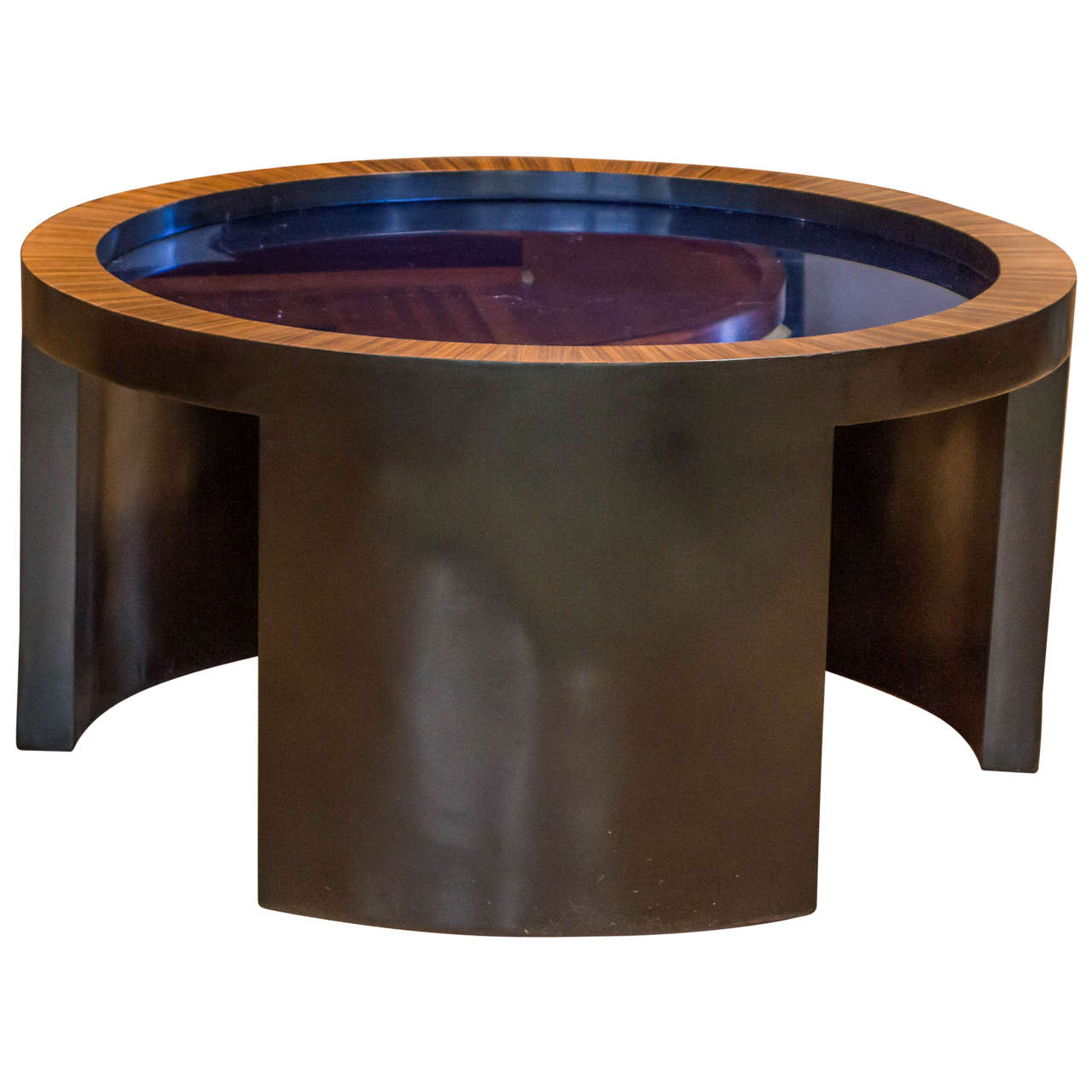 Round Glass Coffee Tables For Sale Round Coffee Table With Cobalt Blue Glass Top Attributed To
