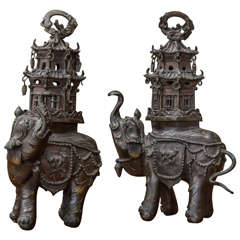Pair of 19th Century Chinese Bronze Elephant Incense Burners